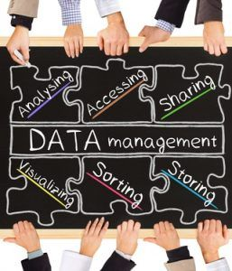 Photo of business hands holding blackboard and writing DATA management diagram
